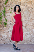 Red linen dress for women with straps and pockets