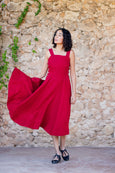 Beautiful red linen dress with straps and full a-line skirt for women