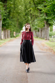 Peter Pan Collar Shirt, Red Tartan