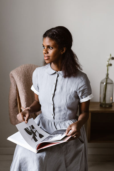 Smock Dress for Girls, Sleeveless, Natural Linen