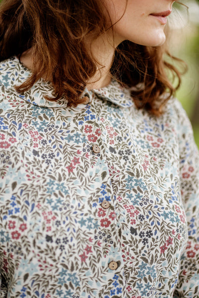 Linen floral shirt, up close image of a floral pattern.