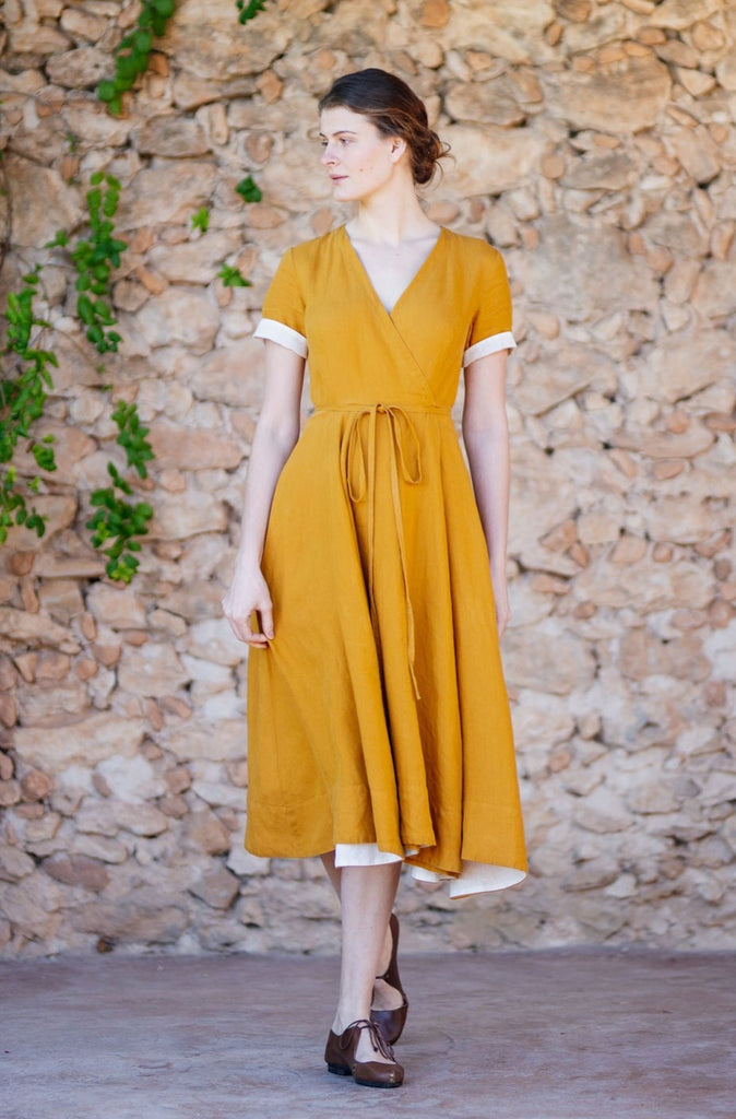 Tailored linen wrap dress for women in mustard yellow color
