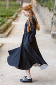 Linen Shawl, Girls, Black Pansy