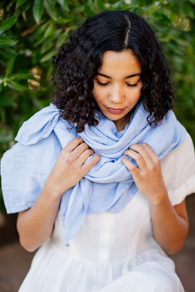 Sky light blue linen scarf for women