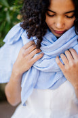 Sky blue linen shawl for women