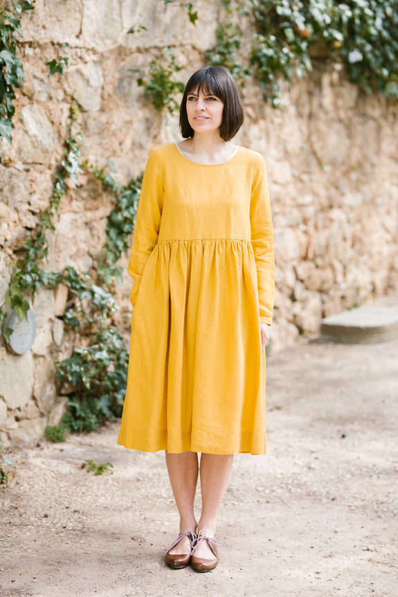 Smock Dress, Long sleeves, Yellow Daffodil