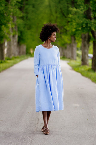 Smock Dress, Long sleeves, Sky Blue