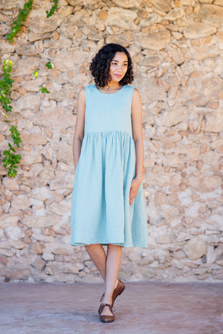 Smock Dress, Sleeveless, Mint Tea