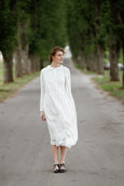 Wrap Dress, Long Sleeves, Sonata White