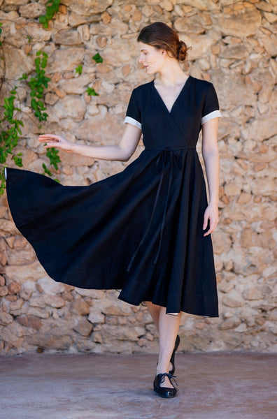 Tailored black wrap dress for women: linen material, wide skirt, roll up sleeves