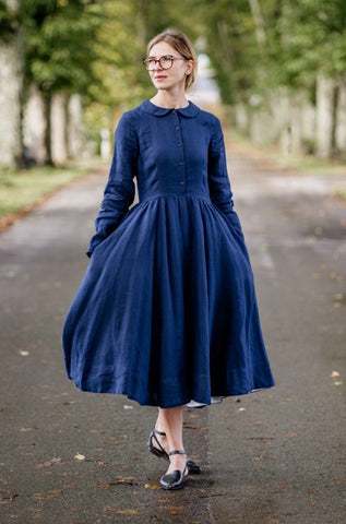 Classic Dress, Long Sleeves, Ink Blue