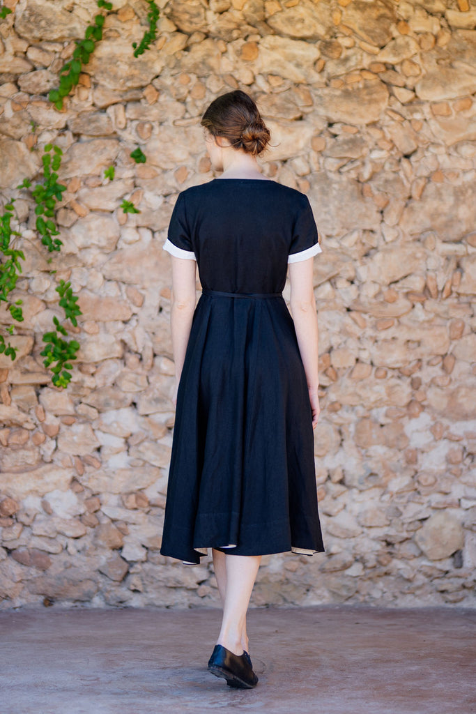 Picture from the back: black linen wrap dress