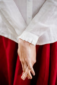 White linen woman's shirt, up close image of a ruffle sleeves