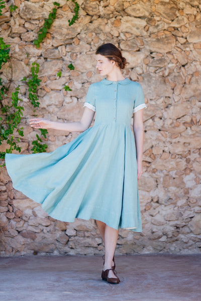 light green women dress made of linen