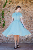 feminine linen dress in mint green color, short sleeves
