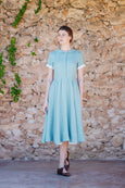 mint green linen dress for women, midi lenght