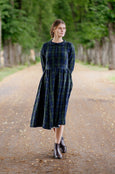 Classic Dress with Embroidered Garden Peter Pan Collar, Long Sleeves, Black Pansy