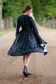 Classic Dress, Long Sleeves, Blue Tartan