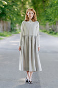 Classic Dress with Embroidered Meadow Peter Pan Collar, Long Sleeves, Lavender
