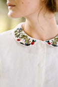 Peter Pan Collar Shirt with Garden Embroidery, White Magnolia