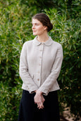 Classic linen jacket in natural linen with peter pan collar and button details down the front