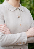 Classic jacket in natural linen with peter pan collar and buttons at front