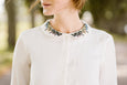 Peter Pan Collar Shirt with Meadow Embroidery, White Magnolia