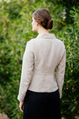 Photo from the back: classic linen jacket in sand nude color