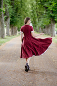Classic Dress, Short Sleeves, Marsala Red