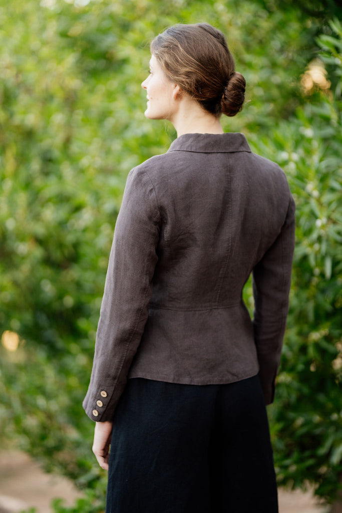Photo from the back: picture of linen jacket in dark brown color