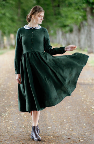 Classic Dress with Embroidered Meadow Peter Pan Collar, Long Sleeves, Evergreen