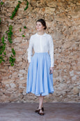 Midi linen skirt in light blue color