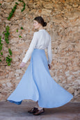 Linen maxi skirt in light blue color for women