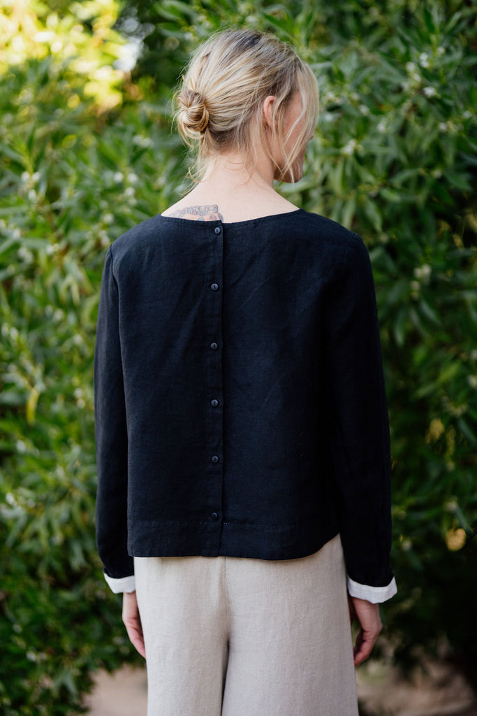 back picture of women linen shirt in black color and button detail