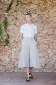 Light sand culotte trousers made of linen