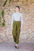 Olive green linen trousers for women