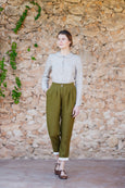 Classic design peg leg trousers for women in rosemary green color