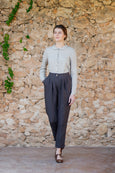 Classic peg leg trousers for women in linen material and dark brown color