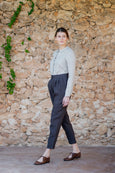 Linen peg leg trousers for women with white bottom detail
