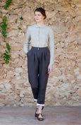 Brown linen trousers for women