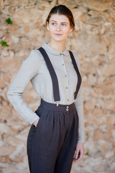 Dark brown linen suspenders for women