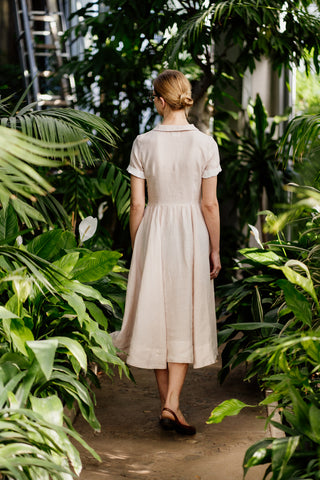 Laelia Dress with White Peter Pan Collar, Long Sleeves, Black Pansy