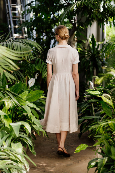 Women linen dress in comfortable loose style with pockets, black color with white collar