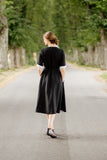 Classic Dress, Long sleeves, White collar, Black Pansy