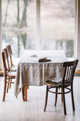 Natural linen tablecloth placed on a table, picture from the front