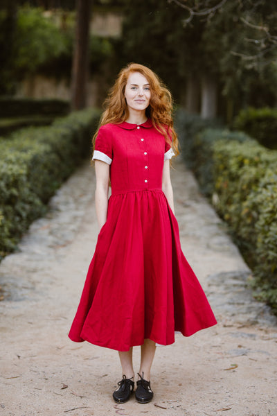 Classic Dress, Short sleeves, Red Poppy