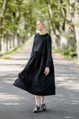 Laelia Dress, Long sleeves, Black Pansy