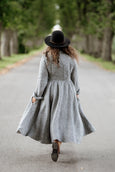 Twill Linen Classic Dress, Long sleeves, Grey Moon