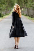 Smock Dress, Long sleeves, Black Pansy
