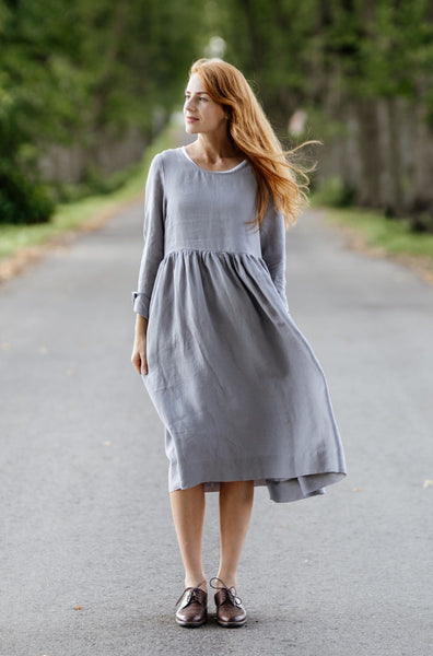 Smock Dress, Long sleeves, Silver Dust